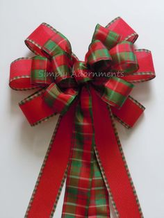 Rustic Red Green Plaid Christmas Wreath Bow By SimplyAdornmentsss