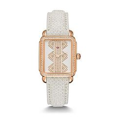 MICHELE® Watches - Deco ll Mid Rose Gold, Pattern Diamond Dial Snowflake Snakeskin Strap