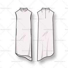 Women's Sleeveless Angled Hem Dress Fashion Flat Template