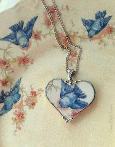Broken china jewelry heart pendant necklace antique bluebird china by wendy Broken China Crafts, Broken China Jewelry, Heart Jewelry, Glass Jewelry, Jewelry Necklaces, Beaded Jewellery, Gemstone Bracelets, Jewelry Crafts, Handmade Jewelry