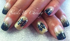 Blue and Gold Sparkle Notre Dame Shellac Nails by Christy @ Mane Tamers Mishawaka Indian