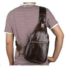 Кожаный рюкзак на одну шлейку. Хит 2017 года. Мода на городские модели  мужских сумок 6078a812003