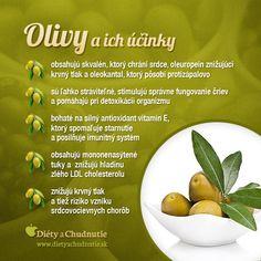 Aké sú všetky pozitíva konzumácie olív, dozviete sa v tomto článku  http://www.dietyachudnutie.sk/stravovanie/pozitiva-konzumacie-oliv/