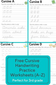 Practice cursive letters A-Z with free cursive handwriting worksheets. These are handy for giving kids a quick refresher on tricky letters. - Kids education and learning acts Handwriting Practice Worksheets, Cursive Writing Worksheets, Handwriting Analysis, Teaching Cursive Writing, Improve Handwriting, Hindi Worksheets, Writing Classes, Grammar Worksheets, Writing Skills