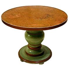 Hand Painted Furniture - Piece of the Week - Custom Pedestal Table with Aged Copper Top