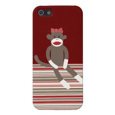 Girl Sock Monkey Red Tan Striped iPhone 5 Case SOLD on Zazzle