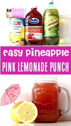 pineapple lemonade Lemonade Recipe for Party - Easy Pineapple Pink Lemonade Punch for Kids and Adults! Just a few ingredients and you've got the drink that will be the hit of your Pink Lemonade Punch, Cranberry Lemonade, Pineapple Lemonade, Lemonade Cocktail, Pineapple Punch, Lemonade Recipe For Party, Lemonade Punch Recipe, Party Punch Recipes, Drink Recipes