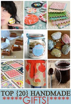 Top 20 Handmade Gifts | Craft-O-Maniac. Great ideas from food to scrubs and beyond