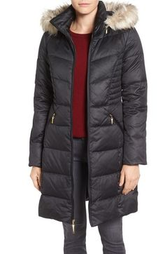 Ellen Tracy Faux Fur Trim Matte Satin Down Coat (Regular & Petite) available at #Nordstrom