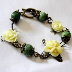 Ivory Resin Rose Flower Bouquet Antique Bronze by MystiqueCat, $20.00