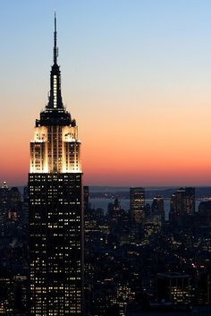 Empire State Building at sunset - yes, we were there as the sun was beginning to set. The Towers were still there then.