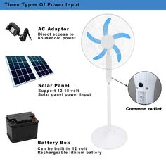 Powered by an energy-saving 12v dc fan motor, this 18 in. solar energy fan consumes up to 70% less energy than the average household fan. Solar Fan, Stand Fan, Solar Energy, Save Energy, Solar Panels, Ceiling Fan, Household, Solar Power, Sun Panels