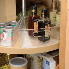 """Lazy Susan Cabinet Binz Dimensions: 10.25""""L x 9.5""""W x 4""""H Material: Plastic Color: Clear Wedge Shaped Design maximizes corner spaces Works with Corner Base Cabinets Built-in Handle 8 Wedges create ful"""