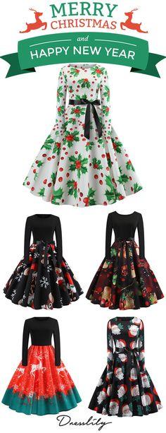 7a78c0ccfa8b Hepburn Vintage Series Women Dress Spring And Winter Round Neck Christmas  Printing Stitching Design Long Sleeve Belt Corset Retro Dress.