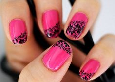 hot pink with black lace