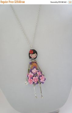 FLORALS FRENCH DOLL pendant doll necklace with a by Dissidente