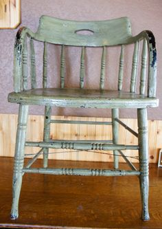vintage distressed green windsor captains chair by gleaned on Etsy,