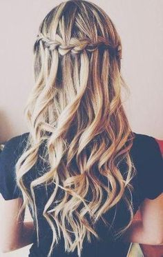 Long Curly Hairstyles Waterfall braid into wavy hair Pretty Hairstyles, Braided Hairstyles, Wedding Hairstyles, Straight Hairstyles, Short Hairstyles, Curly Haircuts, Straight Updo, Hairstyle Ideas, Simple Curly Hairstyles