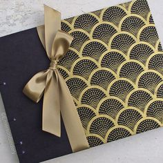 Wedding Guest Book Art Deco in Black and Gold by EmersonBindery