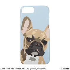 Shop Cute Fawn Red French Bulldog Case-Mate iPhone Case created by special_stationery. Lilac French Bulldog, French Bulldog Tattoo, French Bulldog Puppies, Puppy Gifts, Dog Lover Gifts, Dog Gifts, Pastel Blue Background, Puppy Stages, Dog Socks