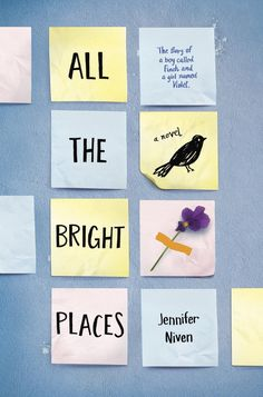 All the Bright Places - Theodore Finch and Violet Markey are high school students who seemingly have nothing in common — Finch is a depressive and misunderstood outcast; Violet is an outgoing, but secretly troubled, popular girl. But when they find themselves in similarly desperate situations, standing at the top of their school's bell tower, their unlikely friendship is formed and grows into a roller coaster of a romance.