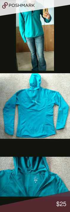 Blue Nike DriFit Running Hoodie Nike Size Medium DriFit technology for exercise  Great for outdoor activities or exercise in the cold.  Keeps you warm up wicks away sweat.  The stitching is letting go slightly at the bottom (last picture) Nike Tops Sweatshirts & Hoodies