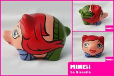 https://flic.kr/p/dHDFyF | sirenita / little mermaid | Chanchitos Marranitos Alcancías decoradas, artesanales y personalizadas de Mine! Diseños. Decorated piggy banks. Hand painted piggy banks.