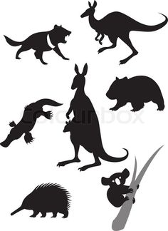 Silhouettes of australian animals Royalty Free Vector Image , Aboriginal Culture, Aboriginal Art, Animal Silhouette, Silhouette Vector, Silhouette Cameo, Nature Vector, Drawing Clipart, Happy Cartoon, Shadow Puppets