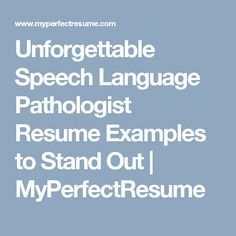 speech language pathologist resume sample my perfect resume