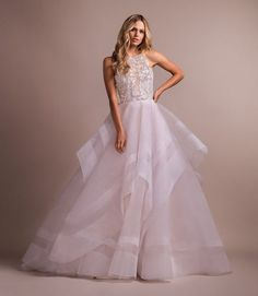 Style 6916 Tulua Hayley Paige bridal gown - Alabaster tulle ball gown with crystal stone butterfly bodice, scalloped jewel neckline and low scoop back, cascading skirt with striped horsehair detail. Gorgeous Wedding Dress, Best Wedding Dresses, Bridal Dresses, Wedding Styles, Wedding Gowns, Rose Wedding, Dream Wedding, Wedding Ideas, Perfect Wedding