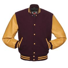 ce6f6134f Details about Varsity Baseball Maroon Wool & Golden Genuine Leather Sleeve Letterman  Jackets