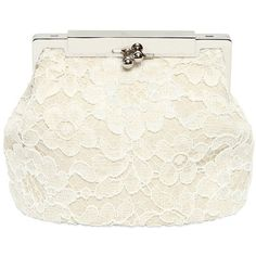 DOLCE & GABBANA Sara Lace With Linen Trim Top Handle Bag - White (€1.045) ❤ liked on Polyvore featuring bags, handbags, clutches, purses, borse, bolsas, white, dolce gabbana purse, lace purse and dolce gabbana handbag