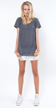 Easy tee... love the stonewashed gray.