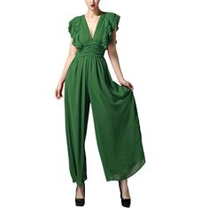 Buenos Ninos Women's Chiffon Sleeveless Wide Leg Sexy Deep V-neck Causual Jumpusuit Green M. Size(Bust.Waist.Length)S(34.6'',27.5'',54.3'')M(36.2'',29.1'',55.1'')L(37.7'',30.7'',55.9''). Please see detailed size information for proper fit.4 colors to choose. Fashion elements:Deep V-neck.Ruffled Sleeve.High Waist.Wide legs. Really comfortable to wear.Show tall and show thin.Bright color. Fit for casual wearing.evening party.you will be stand out from lots of dresses.
