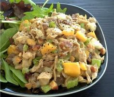 I am having this for lunch one day this week...  chicken, celery, onion, mango, dried apricots, goddess dressing, cilantro, almonds, pepper (Prob will sub out lime for Goddess dressing and add a jalepeno and eat it in a pita with lettuce) about $1.99/serving!