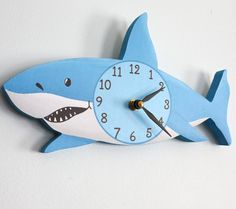 Shark Wooden WALL CLOCK for Kids Bedroom Baby by ToadAndLily, $45.00