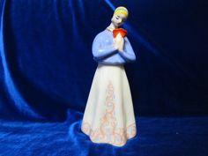 VINTAGE Porcelain Figurine Soviet Polonne ukrainian  red flower girl ussr 1970