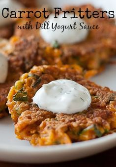 Carrot Fritters with Dill Yogurt Sauce - So tasty for spring!
