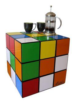 Giant Rubik s Cube side/coffee table, seat, storage unit. Retro furniture box.