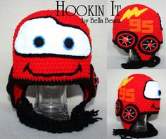 Crocheted Lightning McQueen Inspired Hat