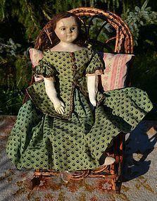 Early 25 in. Slit Head Wax Doll, Wonderful Original Green Wool Dress - Barndust #dollshopsunited