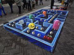 3D Pac-Man Street Painting