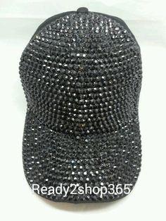 dea7757d1b9 Bling Rhinestone Studded Front Ballcap Womans Hat Baseball Cap Cadet New  Black