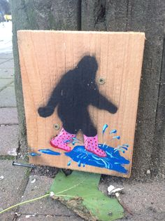 Puddle Jumper Sasquatch. Cedar and acrylic, street art, 2014.