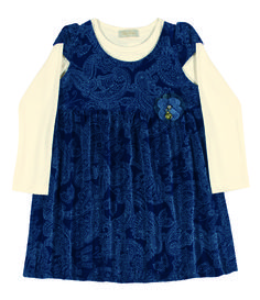 Toddler Clothing - Collection: 2014 Fall/Winter.  Name: Plus Floral Print Dress. Available in 2 colors and with matching long sleeve shirt  http://www.pullabulla.com/Plush-Floral-Print-Dress-p/31214r.htm