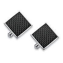 Men's Inlaid Carbon Fiber Square Cufflinks in Stainless Steel