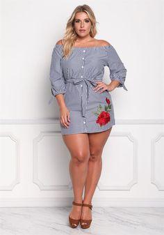Plus Size Clothing   Plus Size Rose Applique Pinstripe Shift Dress   Debshops