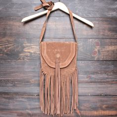 boho fringe crossbody bag - tan - shophearts - 1