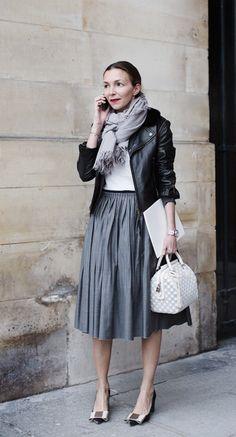 Leather jacket + midi skirt