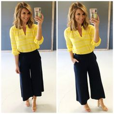 As the weather warms up, it's time to update our Spring and Summer work wardrobe! Here are over 10 outfits to keep you looking your best in the office! Yellow Magnolia, Summer Work Wardrobe, Living In Yellow, Yellow Springs, Yellow Tulips, Wide Leg Cropped Pants, Blazer Buttons, Get Dressed, Work Wear